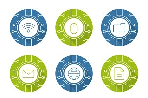 Cyber technology. 9 icons. Vector