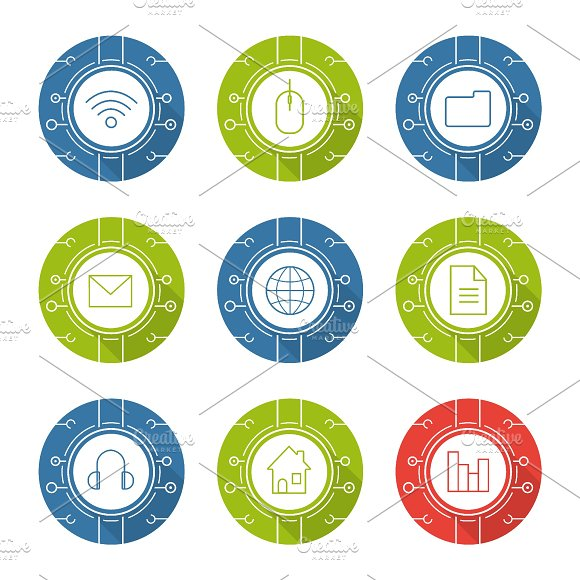 Cyber technology. 9 icons. Vector - Icons
