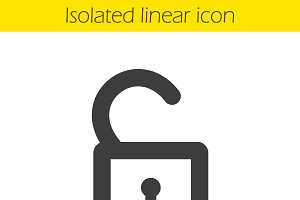 Open lock linear icon. Vector