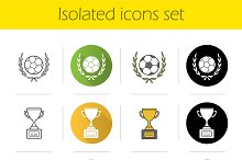 Soccer championship 12 icons. Vector