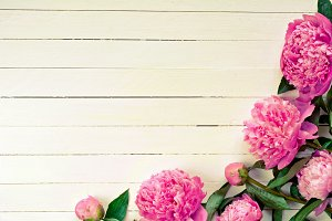 Peony flowers on wooden background