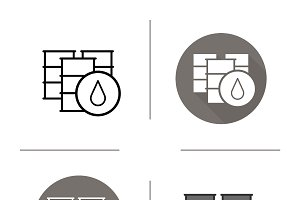 Oil barrels. 4 icons. Vector