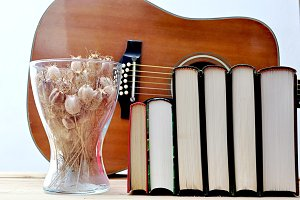 books and guitar