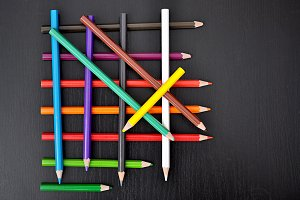 colored pencils gridded