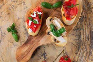 Various of bruschetta