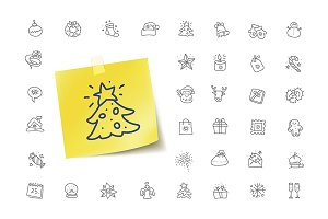 36 Christmas Doodle Icons
