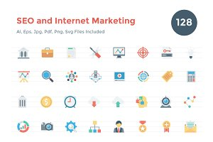 128 Seo and Internet Marketing Icons