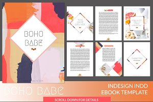 boho babe indesign ebook template presentation templates creative market - Free Ebook Templates