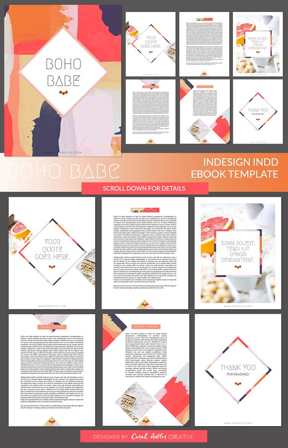 Boho Babe InDesign Ebook Template ~ Presentation Templates ...