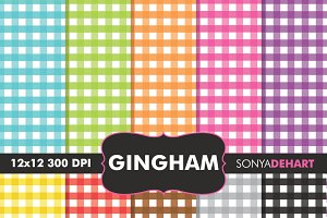 Gingham Digital Paper Patterns