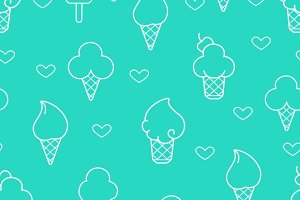 White line ice cream icons