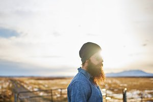 Bearded man in rural Nevada