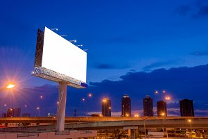 Blank billboard at twilight time