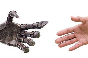 handshake with cy-ber robot