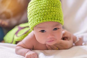 Portrait of cute newborn baby