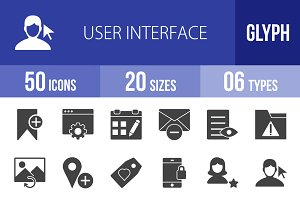 50 User Interface Glyph Icons
