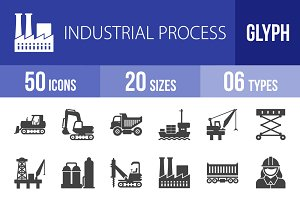 50 Industrial Process Glyph Icons