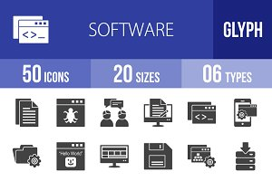 50 Software Development Glyph Icons