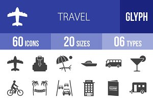 60 Travel Glyph Icons