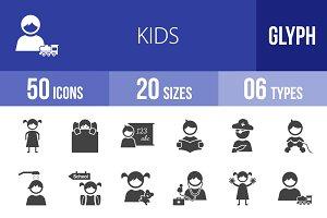 50 Kids Glyph Icons