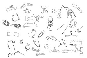 Set of line sewing icons vector