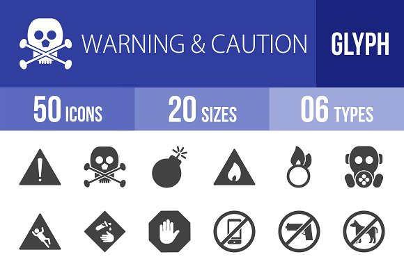 50 Warning & Caution Glyph Icons