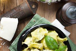 Dish of savory Italian tortellini