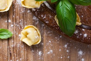 Homemade raw Italian tortellini