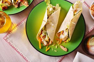 Two Chicken fajitas top view
