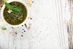 Basil pesto sauce and fresh ingredients