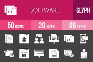 50 Software Glyph Inverted Icons