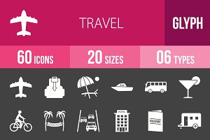60 Travel Glyph Inverted Icons