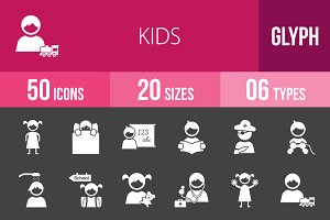50 Kids Glyph Inverted Icons