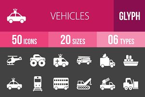 50 Vehicles Glyph Inverted Icons