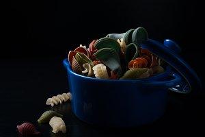 Different types of wholegrain spelt pasta