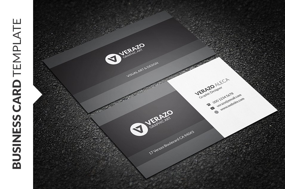 Clean Monochrome Business Card ~ Business Card Templates ~ Creative ...