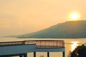 Beautiful sunset at a reservoir