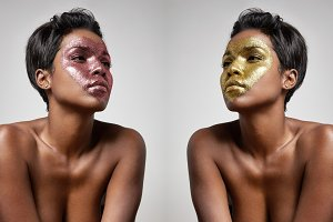 woman with a glitter heart on face