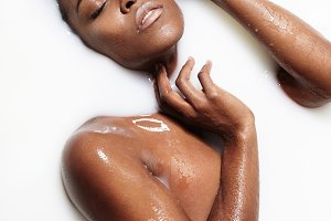 skin treatment with a black woman