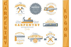 8 Colored Carpentry Logos Templates