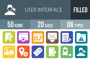 50 Interface Flat Round Corner Icons