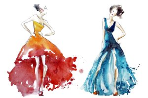 watercolor dresses, fashion