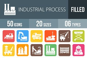 50 Industry Flat Round Corner Icons