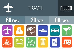 60 Travel Flat Round Corner Icons