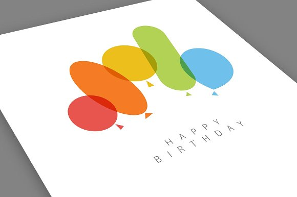 Minimalistic Happy Birthday Card Card Templates Creative Market