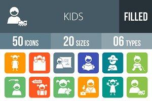 50 Kids Flat Round Corner Icons