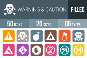 50 Warning Flat Round Corner Icons