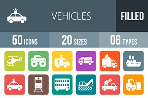 50 Vehicles Flat Round Corner Icons