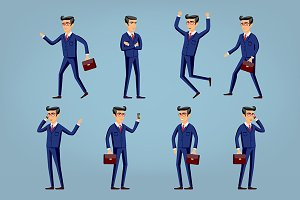 Set of Happy office man. Vector