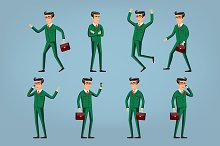 businessman in green suit. poses